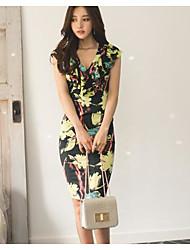 Coreano compras lotus folha v-neck vestido
