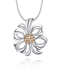 Women's Pendant Necklaces Crystal Sterling Silver Crystal Simulated Diamond Flower Unique Design Logo Style Flower Style Dangling Style