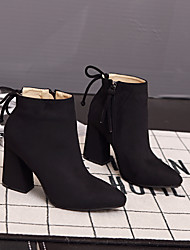 Women's Boots Comfort Suede Casual Chunky Heel