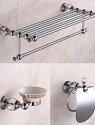 Bathroom Accessory Set / ChromeBrass Crystal /Contemporary