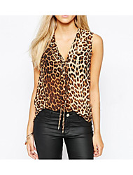 eaby AliExpress 2016 new sexy leopard sleeveless shirt female shirt tie