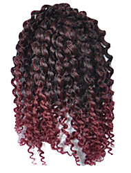 1 Pack 8inch Black Wine Mix Curly Afro Kinky Mali Bob Braids Hair Extensions Kanekalon Hair Braids 30g (5-6packs/head)