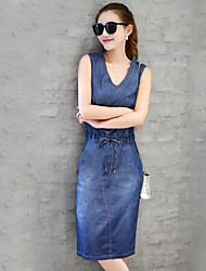 Real shot female summer 2017 denim dress casual denim skirt Slim temperament long section of the Korean version