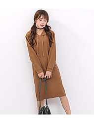 Women's Going out Loose Dress,Solid Round Neck Above Knee Long Sleeve Faux Fur Spring Mid Rise Stretchy Thin