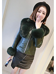 Women's Going out Casual/Daily Sexy Simple Cute Winter Leather Jacket,Solid Round Neck Long Sleeve Regular Fox Fur Goatskin Fur Trim