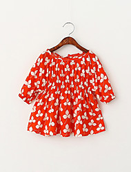 Girl's Casual/Daily Floral Dress,Cotton Summer Half Sleeve