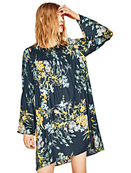 European and American big ZA seventh trumpet sleeves loose round neck floral print dress women new spring