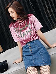 modelo de tiro real no verão 2017 novo longa seção de veludo impresso t-shirt de manga curta