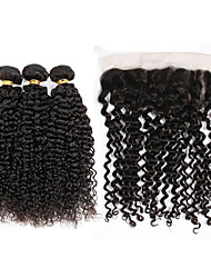 Vinsteen 8A Brazilian Virgin Hair Kinky Curly Lace Frontal Closure With 3 Bundles Ear To Ear 13x4 Free Part Lace Frontal Natural Color Dyeable