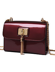 Women Patent Leather Casual Shoulder Bag Ruby Black