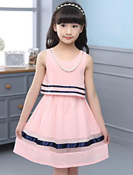 Girl's Casual/Daily Beach Holiday Solid Striped Dress,Polyester Summer Sleeveless