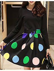 Really making new winter Korean version bottoming skirt long-sleeved dress stitching have thicker section