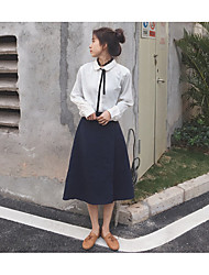 Women's Going out Holiday Simple Spring Shirt Skirt Suits,Solid Shirt Collar Long Sleeve Rayon