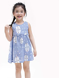 Girl's Casual/Daily Print Dress,Cotton Linen Summer Sleeveless