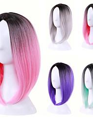 Cosplay perucas gradiente de cor na peruca pontos bobo curta peruca 12 polegadas