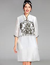 Ample Robe Femme Décontracté / Quotidien Chinoiserie,Fleur Mao Au dessus du genou ½ Manches Soie Lin Printemps Eté Taille NormaleNon