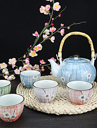Japanese Plum High Temperature Porcelain Teapot set with Teapot (925ml) and Five Color cups (100ml each)