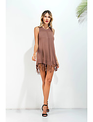 Sign new European and American foreign trade round neck dress fringed skirt Resort