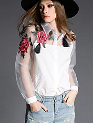Women's Embroidery Casual/Daily Simple Spring Shirt,Floral Shirt Collar Long Sleeve White/Black Polyester Sheer