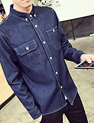-P47- Spring new solid color denim shirt male long-sleeved shirt is more than coffee