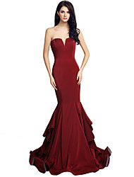 Mermaid / Trumpet Sweetheart Court Train Jersey Formal Evening Dress with Cascading Ruffles