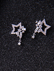 Stud Earrings AAA Cubic Zirconia Unique Design Sterling Silver Star Jewelry ForWedding Party Special Occasion Anniversary Birthday