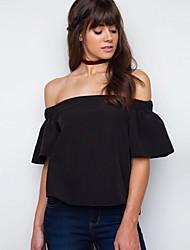 Damen Solide Sexy Ausgehen T-shirt,Bateau Frühling Sommer Ärmellos Baumwolle Undurchsichtig