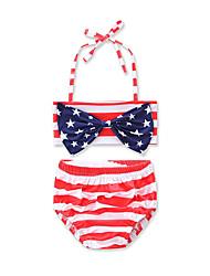 Girls' Bow Stripes Striped Print Geometric Swimwear Cotton Sandy Beach Swimming Kids Baby Clothing