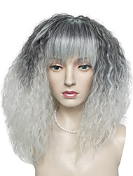 Kinky Curly Wig Synthetic Fiber Neat Bangs Black Mix White Color Wig Hairstyle