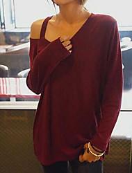 Spot 2015 automne nouveau round neck strapless fashion loose big yards wild casual t-shirt