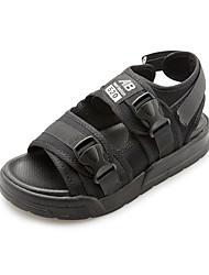 Women's Sandals Gladiator PU Spring Summer Casual Outdoor Gladiator Magic Tape Flat Heel Black 1in-1 3/4in