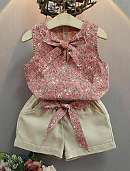 Girls' Casual/Daily Floral Sets,Cotton Summer Sleeveless Clothing Set