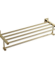 simple design brass gold rustless wall-mounted bathroom accessories towel rack towel shelf
