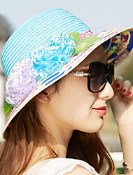 Summer Cloth Edge Small Straw Hat Beach Sun Hat Tourism Uv Lady Wide Large Brim Floppy  Cap with Flower