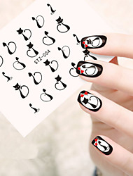 5pcs/set Fashion Cat Nail Art Sticker Lovely Black Cat Design Nail Water Transfer Decals STZ-004