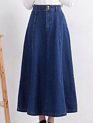Women's High Rise Going out Midi Skirts A Line Solid Spring
