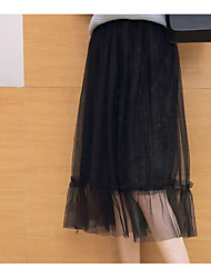 Sign ladies fashion new Korean net veil velvet pleated skirts in autumn and winter high waist skirt