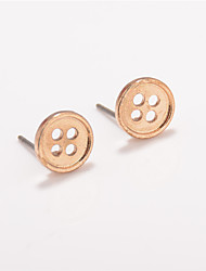 Non Stone Round Button Stud Earrings Jewelry Circular Design Euramerican Fashion Personalized Daily Casual Alloy 1 pair
