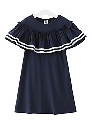 Girl's Casual/Daily Solid Dress,Bamboo Fiber Summer Spring Fall 3/4 Sleeve