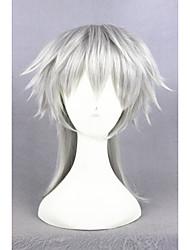 Short touken ranbu en ligne tsurumarukuninaga gris argenté synthétique 16inch anime cosplay wigcs-231m