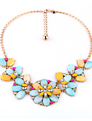 Women's Statement Necklaces Crystal Flower Chrome Unique Design Jewelry For Birthday Thank You Gift 1pc