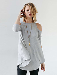 Women's Cut Out Going out Beach Sexy Spring Summer T-shirt,Solid Off Shoulder Long Sleeve Polyester Thin
