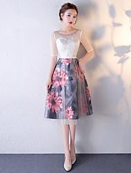 Vestido de cocktail - vestido de padrão uma linha de colher chá de comprimento tule com