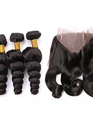 Um Pacote de Solução Cabelo Peruviano Ondulação Larga 12 meses 4 Peças tece cabelo