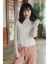 Sign Korea sexy two-piece hollow lace shirt blouse shirt bottoming loose perspective
