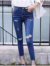 Women's High Rise Stretchy Jeans Pants,Street chic Skinny Solid