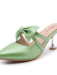 Women's Slippers & Flip-Flops Summer Slingback Club Shoes PU Wedding Party & Evening Casual Stiletto Heel Bowknot Pink Green Gold Walking