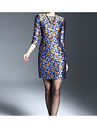 nouvelle robe jupe étape mince manchon autour du cou de banlieue jacquard