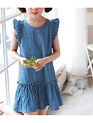Girl's Casual/Daily Solid Striped Dress,Cotton Summer Short Sleeve