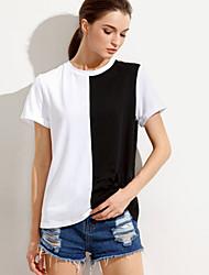 Damen Schachbrett Einfach Ausgehen Lässig/Alltäglich T-shirt,Rundhalsausschnitt Frühling Sommer Kurzarm Baumwolle Undurchsichtig